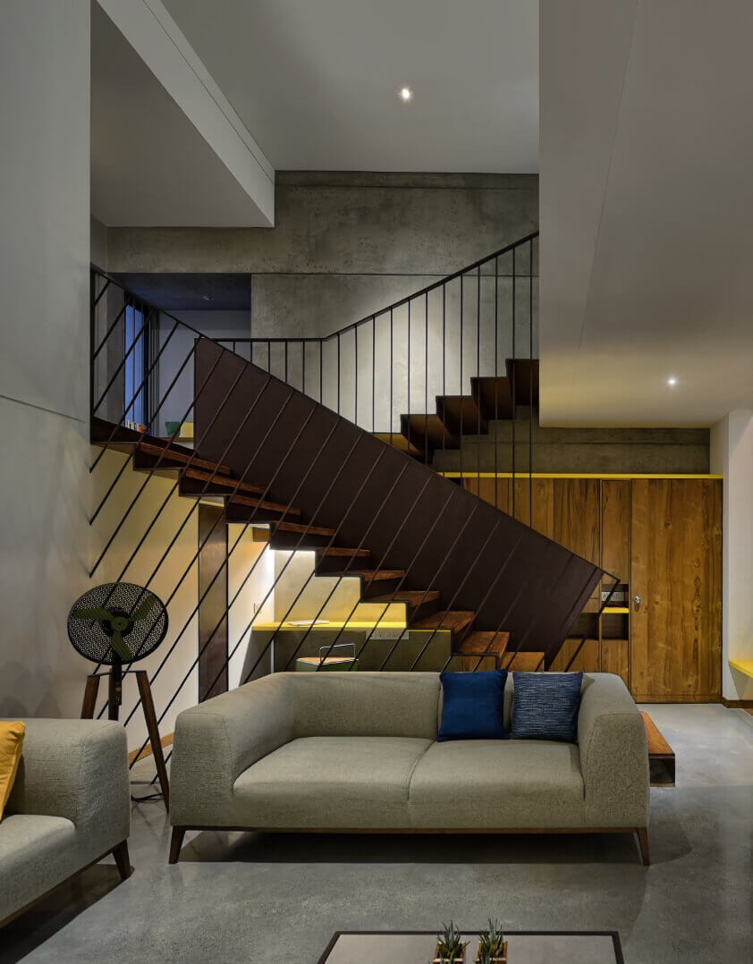 stairs in living room layout
